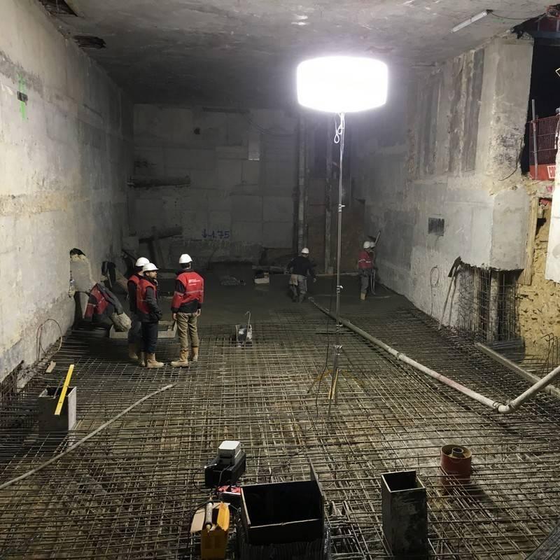 Flex 4000w HTI pour l'éclairage d'un chantier de construction intérieur