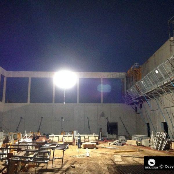 Eclairage chantier par ballon éclairant Airstar LED Sirocco 2M 1200w HMI par Prolutech