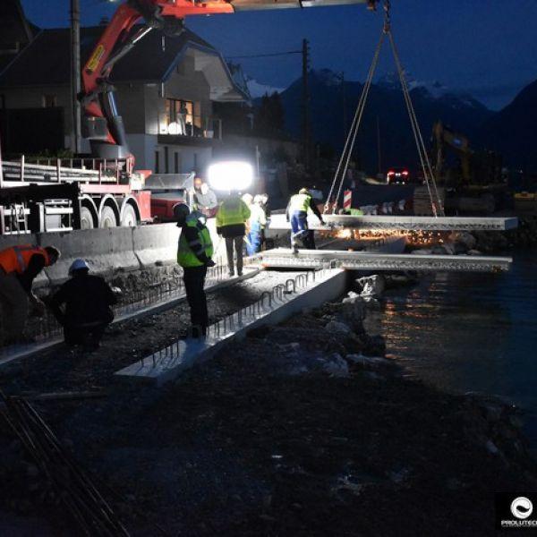 Eclairage chantier de génie civil sur pont par ballon éclairant Airstar Sirocco 2M par Prolutech
