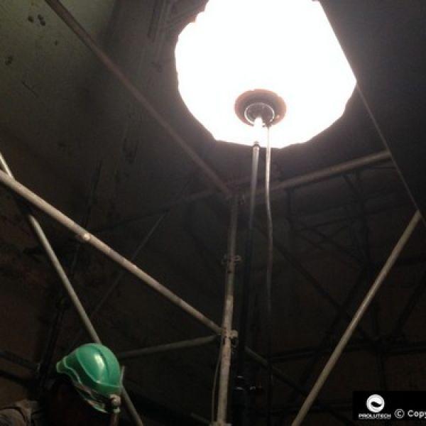 Eclairage en milieu confiné avec le ballon lumineux Sirocco 2S TBT 24v Airstar par Prolutech