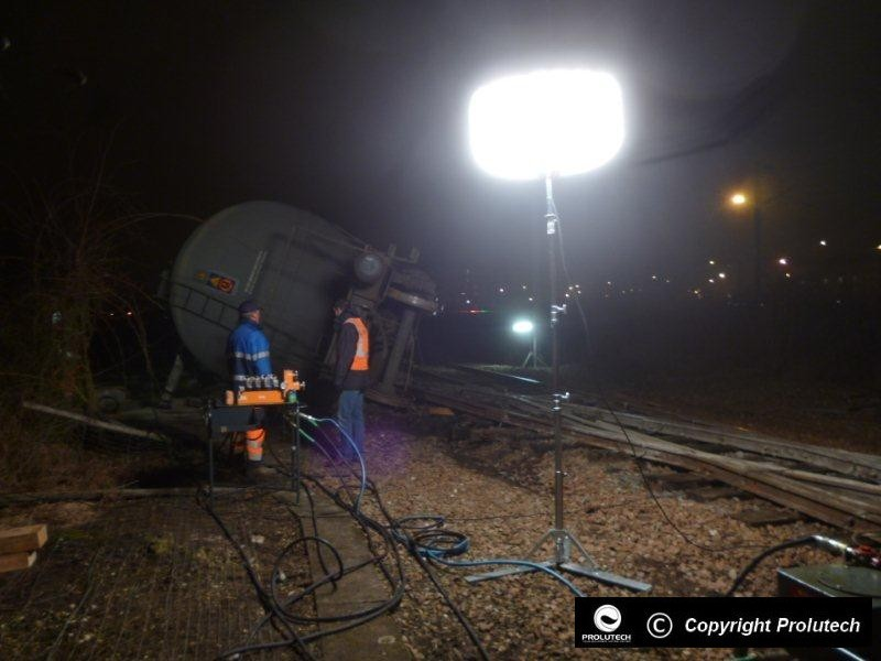 Eclairage accident sur rail